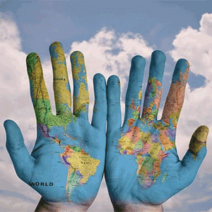 Globe Painting on Hands