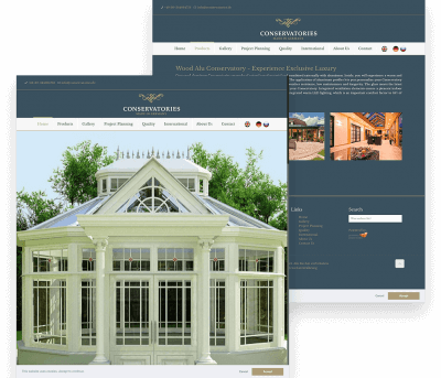 Conservatories Client Website Mockup